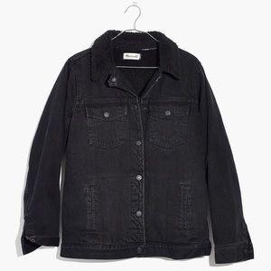 New Madewell Black Oversized Jean Sherpa Jacket